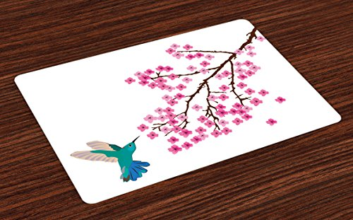 Lunarable Hummingbird Place Mats Set of 4, Japanese Cherry Blossom Illustration with Small Bird Cartoon Flora and Fauna, Washable Fabric Placemats for Dining Room Kitchen Table Decor, - Plate Set Flora Small