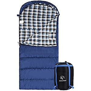 "REDCAMP Cotton Flannel Sleeping Bag for Adults, XL 32/41/50F Comfortable, Envelope with Compression Sack Blue 3lbs (91""x35"")"