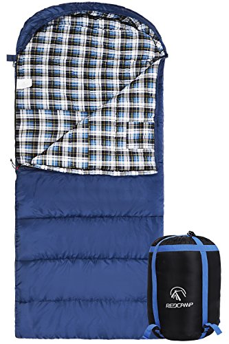 REDCAMP Cotton Flannel Sleeping Bag for Adults, XL 32F Comfortable, Envelope with Compression Sack Blue 3lbs(95
