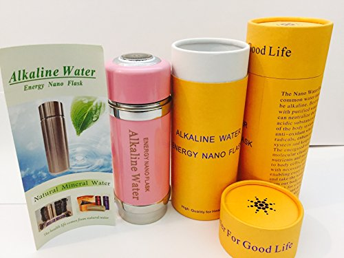 Pink Alkaline Energy Nano Flask Ionizer Water Filter Bottle Ion Travel Cup with gift box