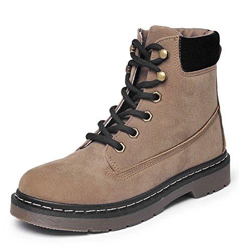 Minetom Herbst Winter Stiefel Aufladungen Damen Schnür Stiefeletten Worker Boots Warme Gefüttert Kurz Schlupfstiefel Flache Schuhe Khaki