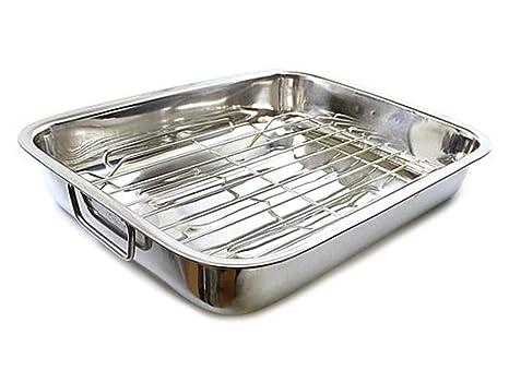 Bandeja rectangular de acero inoxidable para asar lasaña con ...