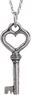 product image for Danforth - Heart Key Mini Necklace - Pewter - Sterling Silver 17 Inch Cable Chain