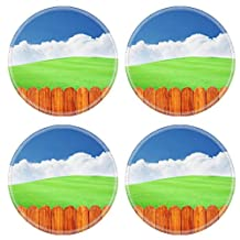 Luxlady Round Coasters Beautiful green field with blue sky white cloud and vintage wooden fence IMAGE 20260632 Customized Art Home Kitchen