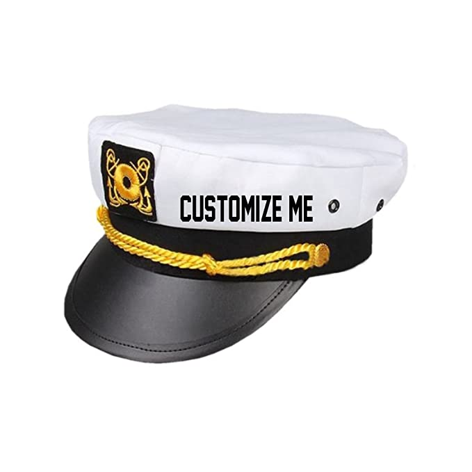 c85271a89e Custom Text Captain Hat- Customize Skipper Sailor Boating Adjustable  Snapback Gift White at Amazon Men s Clothing store