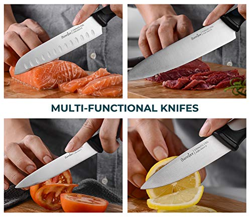 Bonniex Kitchen Knives Set 5-Piece, Chef Knife Block Set with Safety Lock, Cutlery Knives Ultra Sharp for Professional Multipurpose Cooking with Colorful & Ergonomic Handle