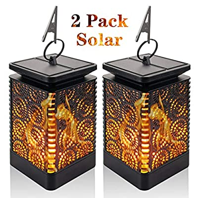 Solar Lantern Lights Outdoor Solar Flame Lights - 2 Pack Dancing Flames Lights 96 Warm LED Dusk to Dawn Auto On/Off Waterproof Solar Powered Hanging Decorative Lights for Patio Yard Garden Camping