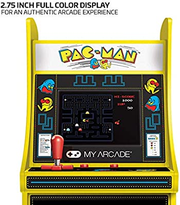 My Arcade Micro Player Mini Arcade Machine: Pac-Man Video Game, Fully Playable, 6.75 Inch Collectible, Color Display, Speaker, Volume Buttons, ...