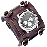 Lancardo 30M Waterproof Retro Steam Punk Rock Black Big Wide Genuine Leather Bracelet Cuff Men Watch Japanese