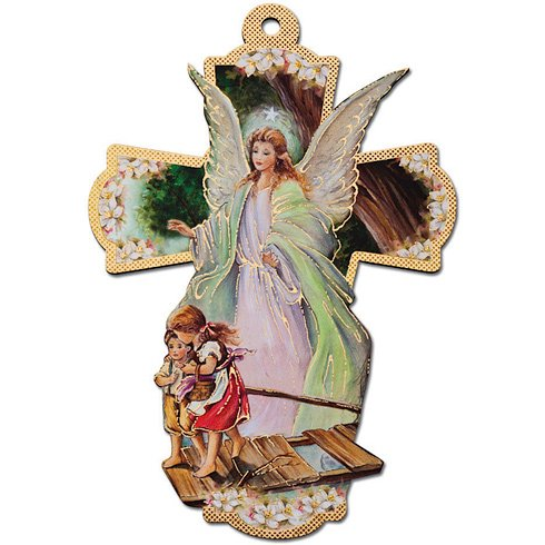 (Italian Wooden Guardian Angel Wall Cross)