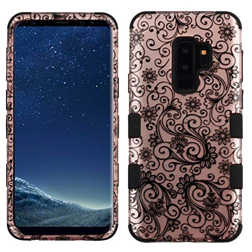 Insten Tuff Four-Leaf Clover Dual Layer [Shock Absorbing] Protection Hybrid PC/TPU Rubber Case Cover Compatible with Samsung Galaxy S9 Plus S9+, Rose ()
