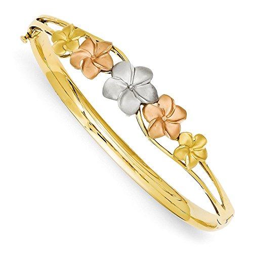 (Brilliant Bijou Genuine 14k Tri-Color Gold Plumeria Bangle Bracelet)