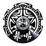 ALOHA - Hawaii Design - Handmade Vinyl Record Wall Clock - Get unique of living room wall decor - Gift ideas for girls and boys – The Aloha Unique Art Design - Original Gift for Any Occasion