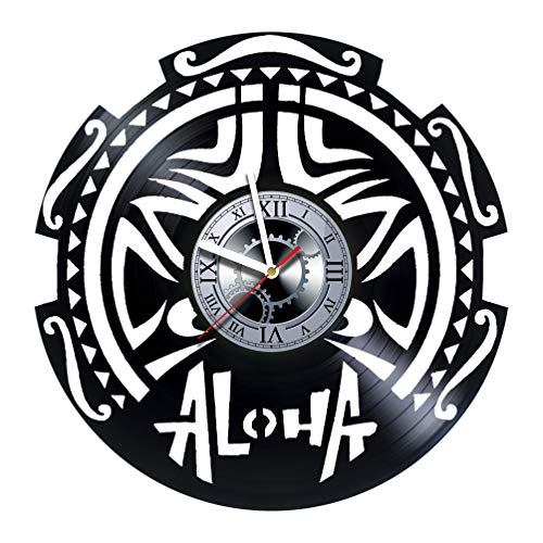 ALOHA - Hawaii Design - Handmade Vinyl Record Wall Clock - Get unique of living room wall decor - Gift ideas for girls and boys – The Aloha Unique Art Design - Original Gift for Any Occasion by LOONAroom