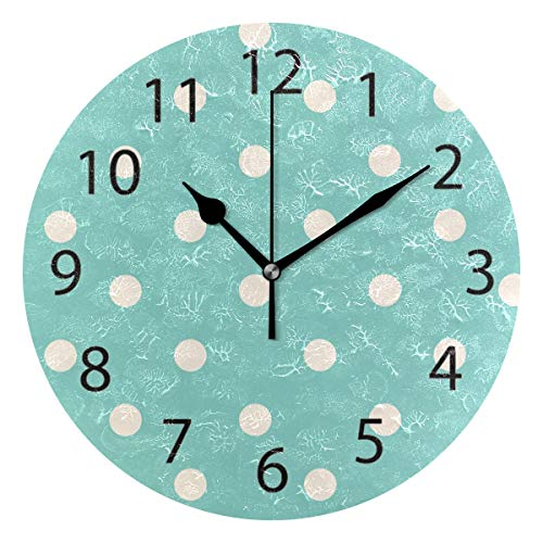 YATELI Wall Clock Shelf Round 10 Inch Diameter Candy Polka Dot Green Silent Decorative for Home Office -