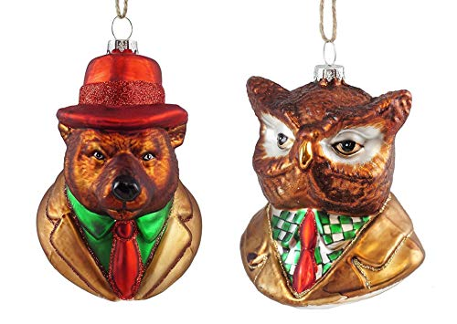 Grizzly Bear Ornament - Owl & Grizzly Bear Crime Scene Detective Animals Glass Ornaments - Set of 2