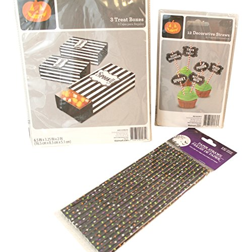 Halloween Cupcake, Treat Boxes, and Paper Straws Decorating Bundle: 12 Cupcake Decorative Straws, 3 Treat Boxes, 15 Star Paper Straws