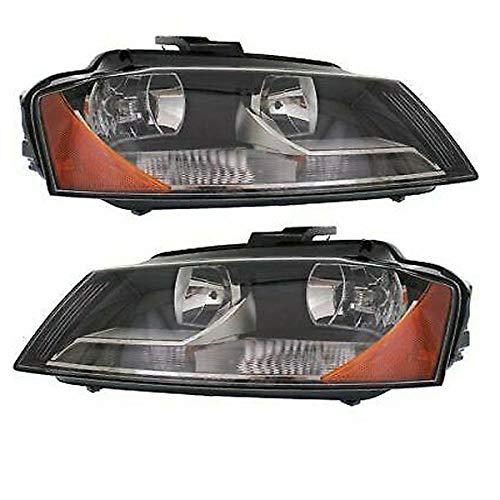 (Koolzap For 09-13 A3 Front Headlight Headlamp Halogen Head Light Lamp with Bulbs Set Pair)