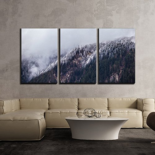 Mountain with Snow Covered Pine Trees x3 Panels
