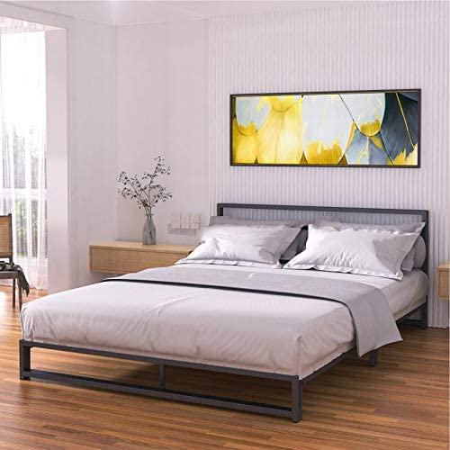 Noillats Metal Platform Bed Frame Full Size with Headboard Low Profile, Premium Reinforced Steel Slat Support Mattress Foundation 7 Inch, No Box Spring Needed and Easy Assembly, Black