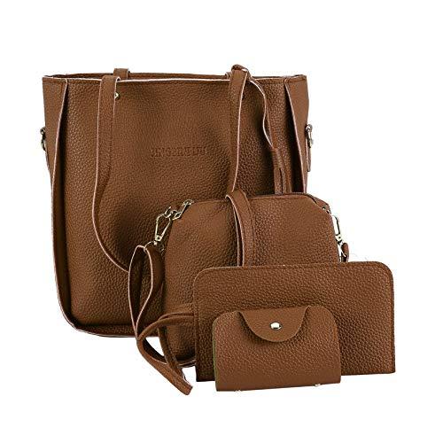 Capacità Wenwenzui grande marrone Fashion set tracolla pezzi Portafoglio a Borsa it Composit 4 rSwrgqv
