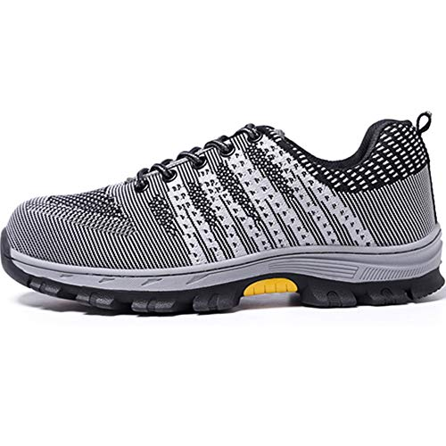 Mens Breathable Air Mesh Steel Toe Safety Shoes with Puncture Proof Midsole Slip Resistance Light Weight Work Boots by BIUHE (Image #2)