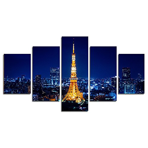 Run Tower Frame (CrmArt 5 Panel Painting Tokyo Tower Wall Art Modern City Night View Giclee Landscape Canvas Prints HD Picture Poster Wall Decor Art (50