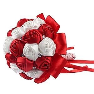AerWo Red Silk Rose Wedding Flowers Bouquet Flowers Bridal Bouquets Crystal Rhinestone Wedding Bouquet Supplies 7