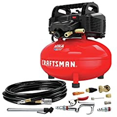 The CRAFTSMAN 6 gallon air compressor features an oil-free pump for maintenance-free operation and a long life. It is lightweight and portable at 30lbs, and features a long runtime and Quick recovery.