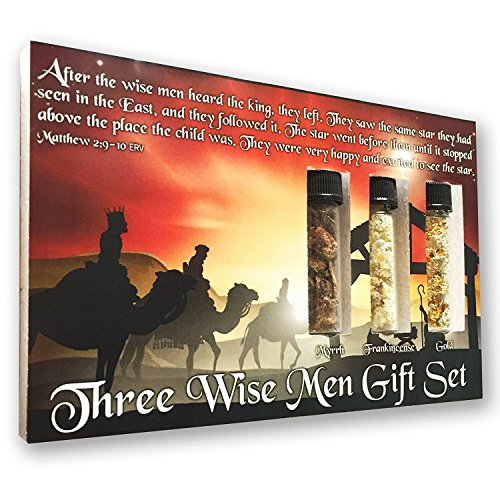 Frozen Seed Capsules Three Wise Men Nativity Gift Set - Real 24k Gold, Pure Frankincense, Pure Myrrh in Glass Vials - Great Bible-Based Christian