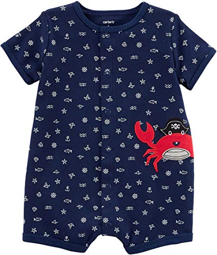 Carter's Baby Boys' Crab Snap-up Cotton Romper 3 Months, Navy