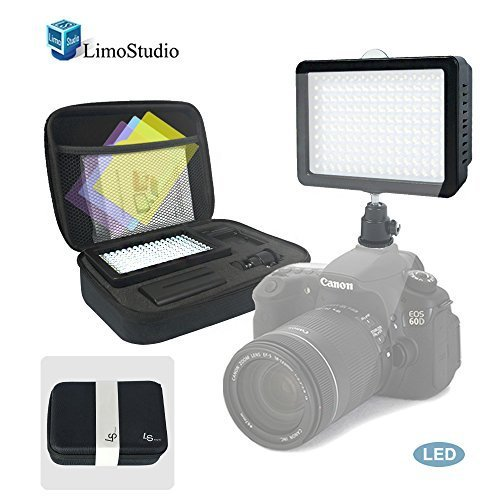 LimoStudio 160 LED Video Light Lamp Dimmable Panel and Charger for DSLR Camera DV Camcorder with Foam Protection Carry Case Accessories, AGG1318G