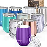 Vacuum Insulated Stemless Wine Tumbler - THILY T1 Triple-Insulated Stainless Steel Wine Glass with Lid, Reusable Straw, Coaster, 12 oz, Keep Cold & Hot for Wine, Coffee, Cocktails, Drinks, Purple