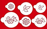 Designer Stencils C790 Brush Embroidery Flower Set, Beige/semi-transparent