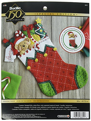 Tri Bead Ornaments - Plaid Holiday Teddy Stocking Felt & Sequin Kit