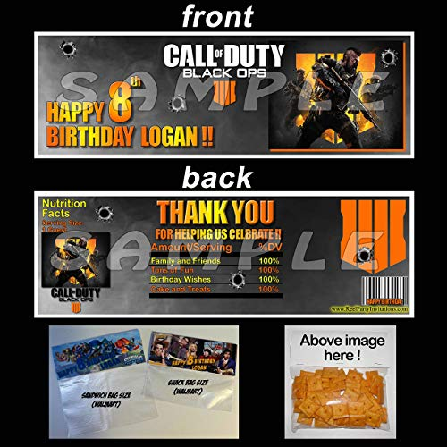 Call of Duty Black Ops 4 Set of Personalized Goody Bag Party Favor Bag Toppers (Call Of Duty Black Ops Birthday Party Supplies)