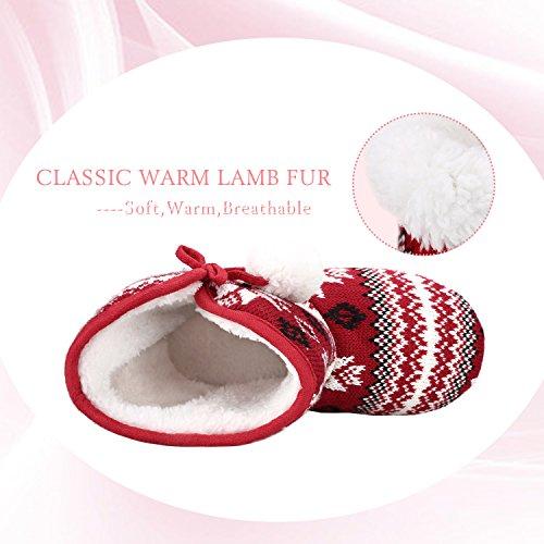 Sibba Womens Children Winter Warm Indoor Outdoor Slipper Midcalf Boot Slippers Snowbootie Rood
