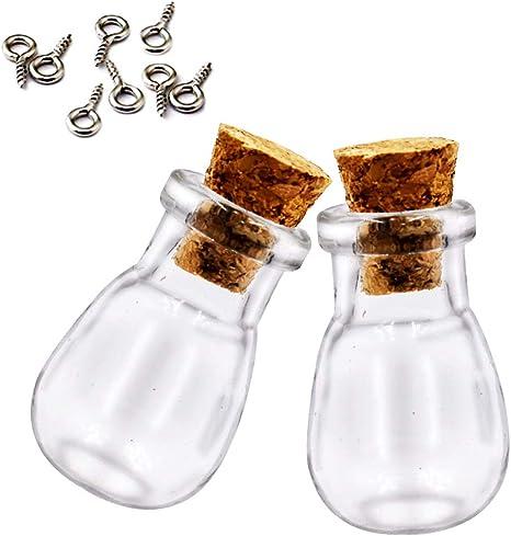 10x Glass Cork Bottle Jars Vials Wishing Bottles DIY Pendant Charms Jewelry