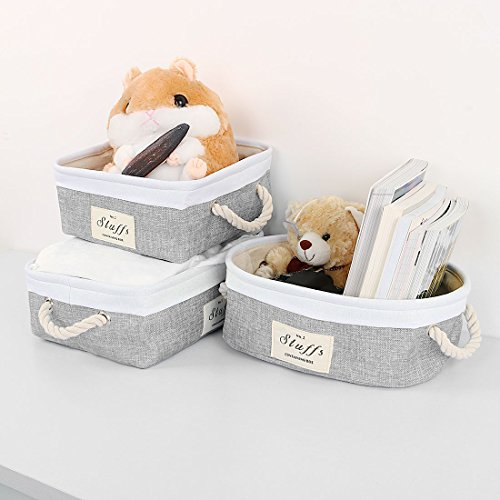 uxcell Folding Canvas Fabric Storage Basket Bin Container Organizer Cube Laundry Hamper w/Cotton Rope Handles for Clothes, Laundry, Toys, Books & More (Rectangle,Gray) by uxcell (Image #6)