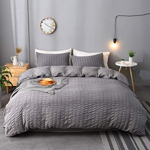 M&Meagle 2 Pieces Dark Grey Duvet Cover Textured Set with Zipper Closure,100% Washed Microfiber Seersucker Fabric,Luxury Hotel Quality Bedding-Twin Size(1 Duvet Cover 1 Pillowcase)