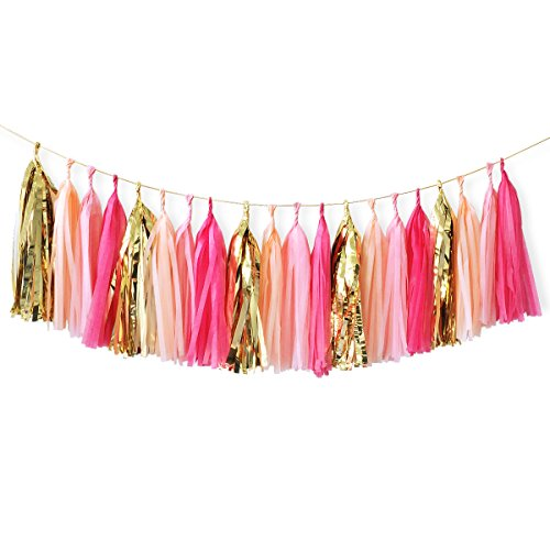 Nicrolandee 20Pcs 15 Inches Tissue Paper Tassel Garland Party Garland Flamingo Color for Baby Shower Birthday Party Bridal Shower Wedding Party Decorations (Hot Pink)