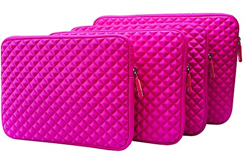 AZ-Cover 10.1-Inch Simplicity Stylish Diamond Foam Shock-Resistant Neoprene Sleeve (Hot Pink) For Proscan 10-Inch Tablet, Quad Core Android OS, Google Play Keyboard + One Capacitive Stylus Pen