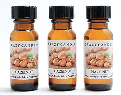 Hazelnut 3 Bottles 1/2 FL Oz Each (15ml) Premium Grade Scented Fragrance Oil by Crazy Candles ()