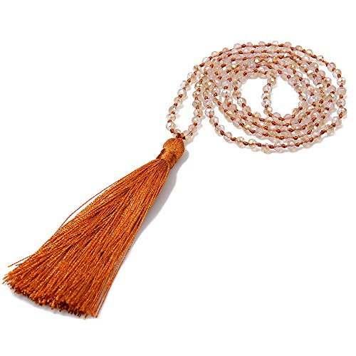 Tassel Orange (VEINTI+1 Bohemia Crystal Glass Beads with Tassels Long Sweater Chain Women's Winter Necklace (G-Orange))