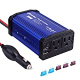 Car Power Inverter 300W DC 12V to 110V AC Quesvow Converter with 4.8A Dual USB Car Charger Adapter-Blue