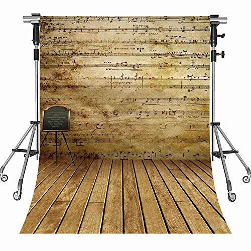 MEETS 5x7ft Classroom Photography Backdrop Wood Floor Sheet Music Background Themed party photo booth YouTube Backdrop MT436 -