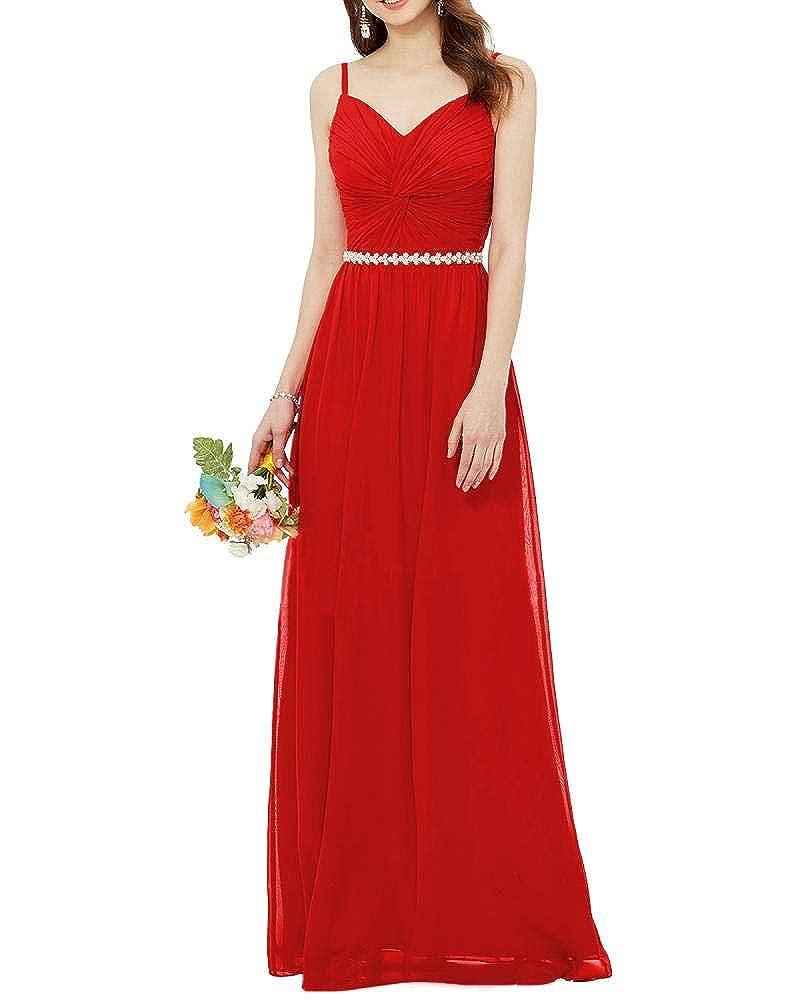 82b0c4b82b06 Lily Wedding Womens Long Sleeveless Chiffon Bridesmaid Dress Aline Beaded Prom  Evening Formal Dress at Amazon Women s Clothing store
