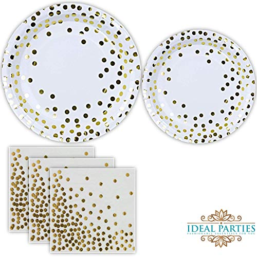 Gold Dot Disposable Paper Plates and Napkins Set 150 PCS; Foil Design 50 Dinner and Dessert Plates and 50 Napkins for Bridal Baby Shower Wedding Anniversary Engagement Birthday Party and more!]()
