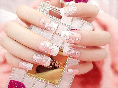 MENILITHS 24Pcs 3D Bling Nail Art Jewelry Glitter Rhinestone Flower Decor Nail Tips Fake Nails for Women Girls