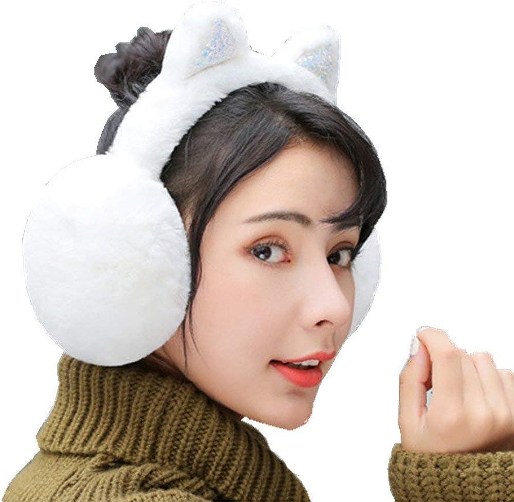 Womens Warm Ear Muffs Winter Cat Earmuffs Soft Foldable Knitted Earmuffs for Kids,Adults